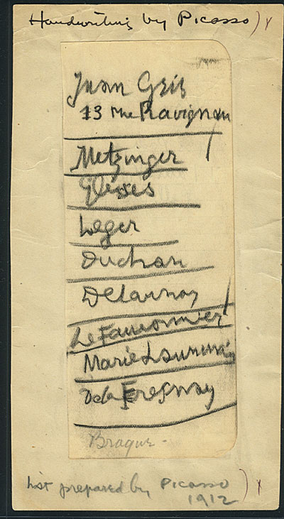 [A list written by Pablo Picasso of European artists to be included in the 1913 Armory Show]