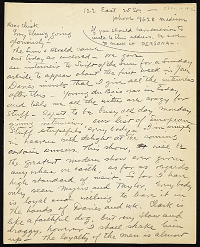 Walt Kuhn, New York, N.Y. letter to Vera Kuhn