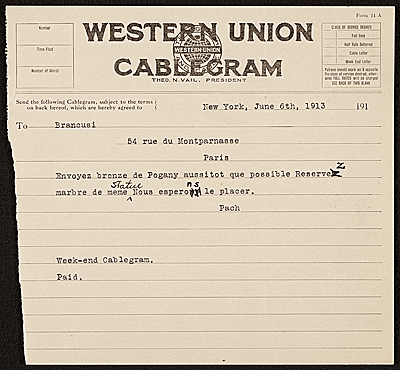 Walter Pach, New York, N.Y. telegram to Constantin Brancusi, Paris, France