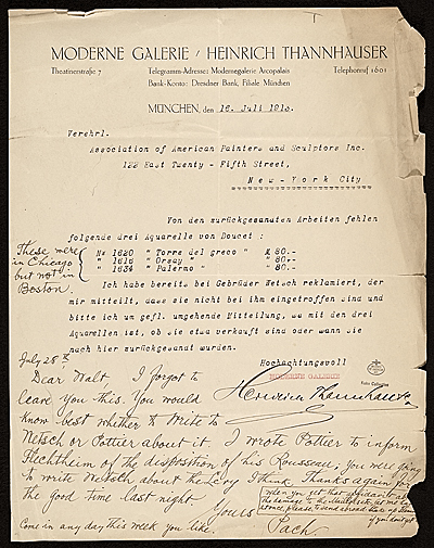 Heinrich Thannhauser, Munich, Germany letter to Walter Pach