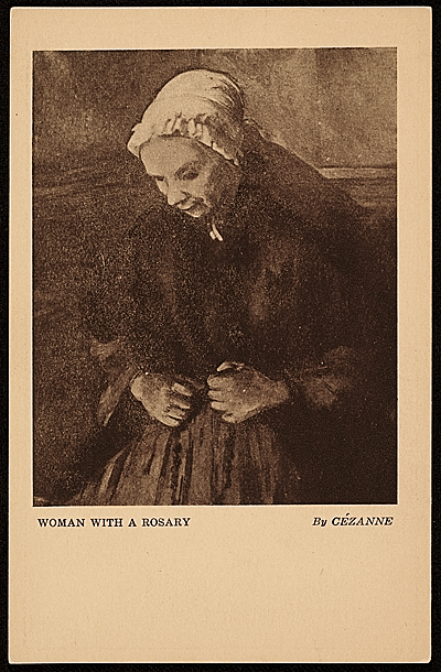 Armory Show postcard with reproduction of Paul Cezannes painting Woman with a rosary