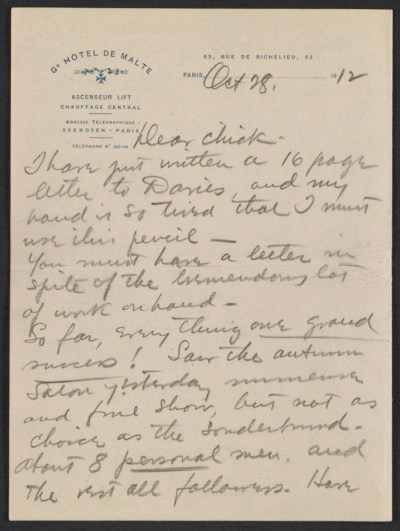 Walt Kuhn, Paris, France letter to Vera Kuhn, Chevy Chase, Md.