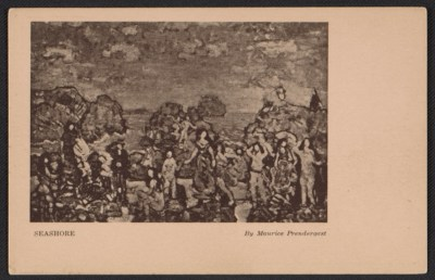 Armory Show postcard with reproduction of Maurice Prendergasts Seashore