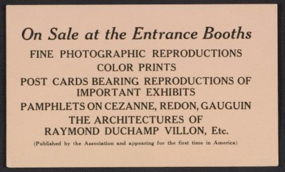 [Announcement card for materials on sale at the Armory Show]