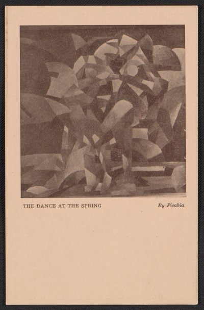 Armory Show postcard with reproduction of Francis Picabias painting The dance at the spring
