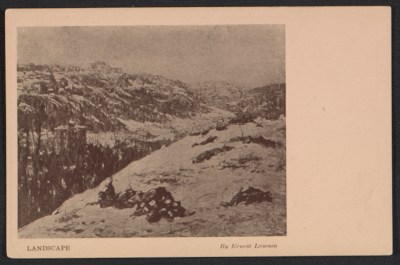 Armory Show postcard with reproduction of a landscape painting by Ernest Lawson