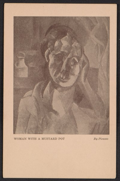 Armory Show postcard with reproduction of Pablo Picassos painting Woman with a mustard pot