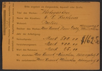 Armory Show entry form for E.L. Kirchner's painting Wirtsgarten