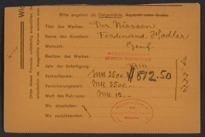 Armory Show entry form for Ferdinand Hodler's painting Der Niessen