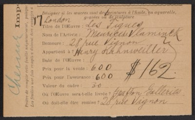 Armory Show entry form for Maurice de Vlaminck's painting Les Figues