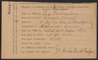 Armory Show entry form for Georges Seurat's painting Les Poseuses
