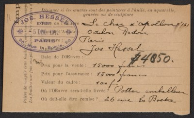 Armory Show entry form for Odilon Redon's painting Le char d'appollon