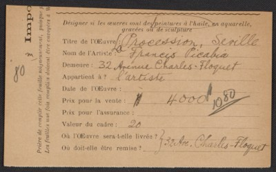 [Armory Show entry form for Francis Picabia's painting La Procession, Seville]