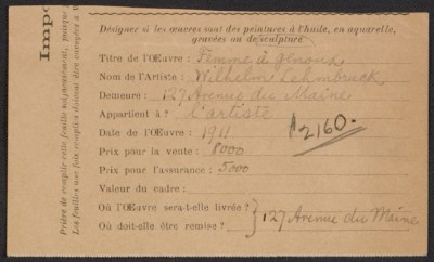 Armory Show entry form for Wilhelm Lehmbrucks sculpture Femme à genoux