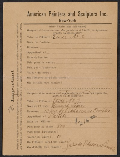 [Armory Show entry form for Fernand Leger's painting Etude no. 2]