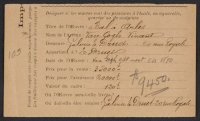 [Armory Show entry form for Vincent Van Gogh's painting Bal à Arles]