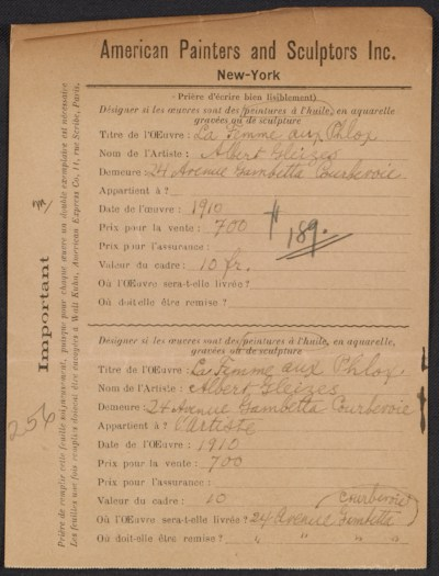 Armory Show entry form for Albert Gleizes painting La Femme aux Phlox