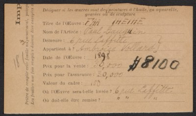 [Armory Show entry form for Paul Gauguin's painting Faa Iheihe]