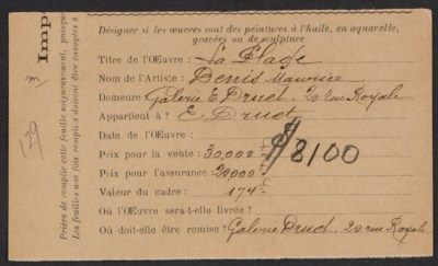 Armory show entry form for Maurice Denis painting La plage