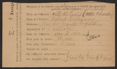 Armory show entry form for Robert Delaunays painting Ville de Paris