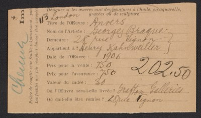 [Armory Show entry form for Georges Braque's painting Anvers]