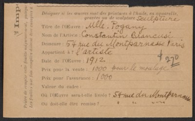 [Armory Show entry form for Constantin Brancusi's sculpture Mlle. Pogany]