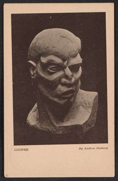 Armory Show postcard with reproduction of Andrew Dasburgs sculpture Lucifer