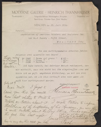 A letter (invoice?) from Heinrich Thannhauser of the Moderne Galerie to the Association of American Painters and Sculptors, inc.