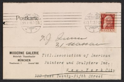 An entry card from Heinrich Thannhauser of the Moderne Galerie to the Association of American Painters and Sculptors, inc.