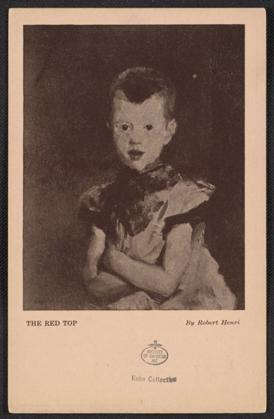 Armory show postcard with reproduction of Robert Henris painting The red top