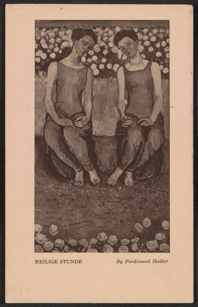 Armory show postcard with reproduction of Ferdinand Hodlers painting Heilige Stunde