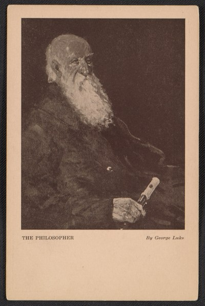 Armory show postcard with reproduction of George Luks painting The philosopher