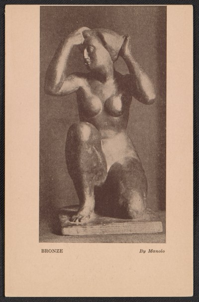 Armory show postcard with reproduction of a bronze sculpture by Manolo