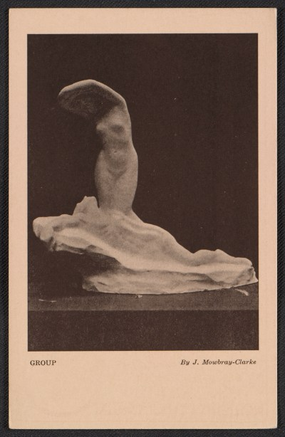 Armory show postcard with reproduction of a sculpture by J. Mowbray-Clarke