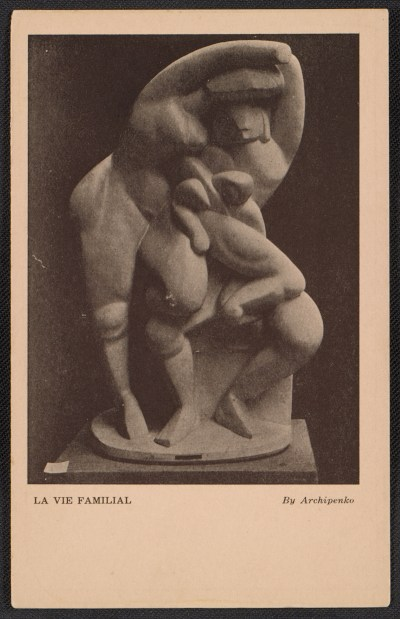 Armory show postcard with reproduction of Alexander Archipenkos sculpture La vie familial