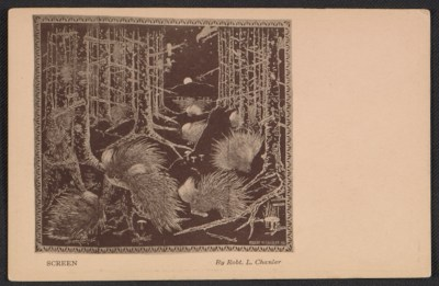 Armory show postcard with reproduction of a screen by Robert Winthrop Chanler