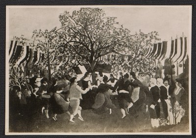 [Photo reproduction of Henri Rousseau's painting Le centenaire de l'indépendance]