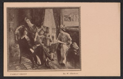 Armory show postcard with reproduction of William Glackens painting Family group