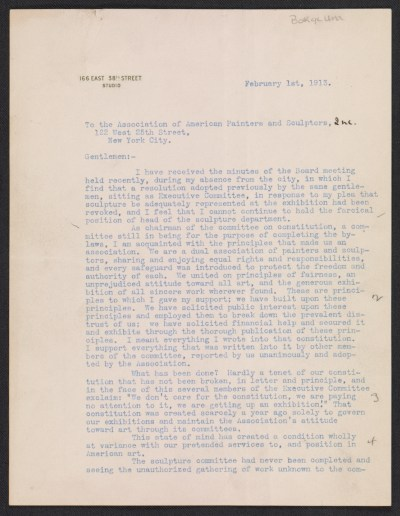 Gutzon Borglum letter to the Association of American Painters and Sculptors (New York, N.Y.)