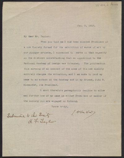 J. Alden Weir letter to Henry Fitch Taylor