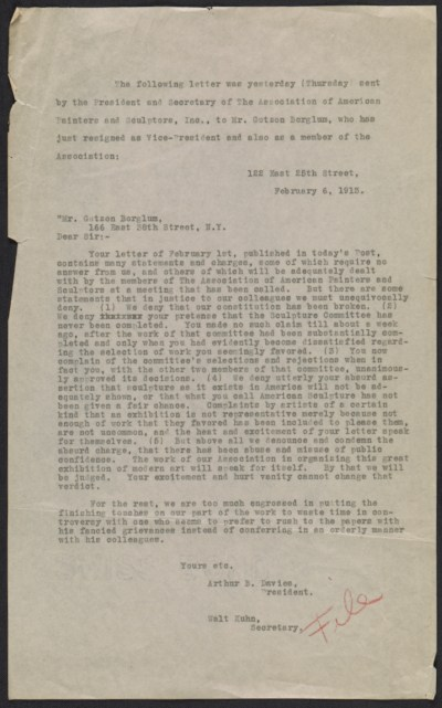 File copy of Arthur B. (Arthur Bowen) Davies and Walt Kuhn letter to Gutzon Borglum
