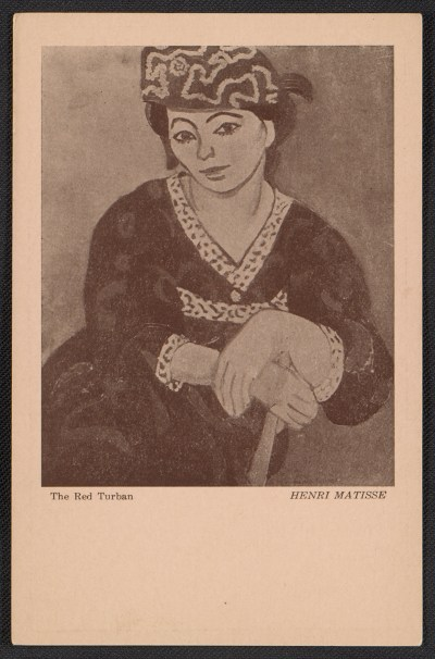 Armory Show postcard with reproduction of Henri Matisses painting The red turban