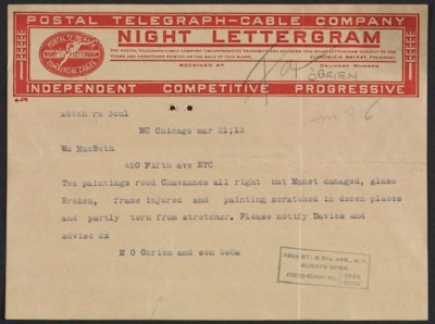 A telegram to William Macbeth from M. OBrien & Sons