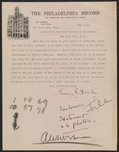 A letter from Francis J. Ziegler of The Philadelphia Record to Walt Kuhn
