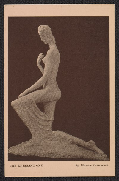 Armory show postcard with reproduction of Wilhelm Lehmbrucks The Kneeling One