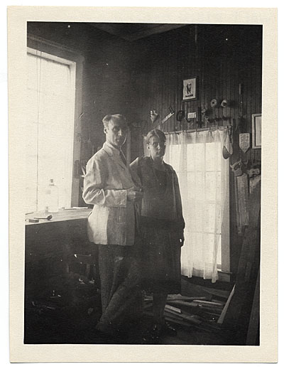 [Walt and Brenda Kuhn in his studio in Maine]