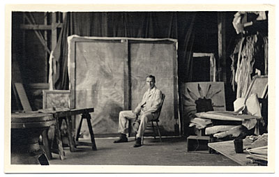 Walt Kuhn in his Fort Lee studio