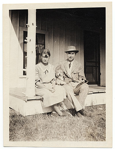 [Walt and Brenda Kuhn on the porch at Ogunquit]