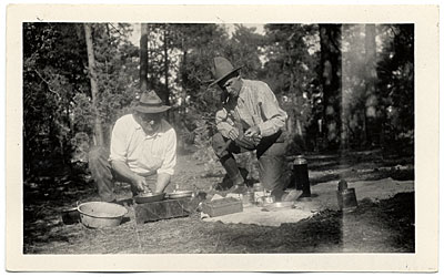 Walt Kuhn and Mr. Thomas camping at Oak Creek