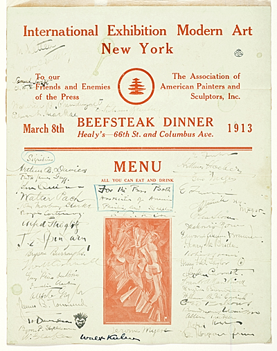 [Armory Show beefsteak dinner menu signed by guests]